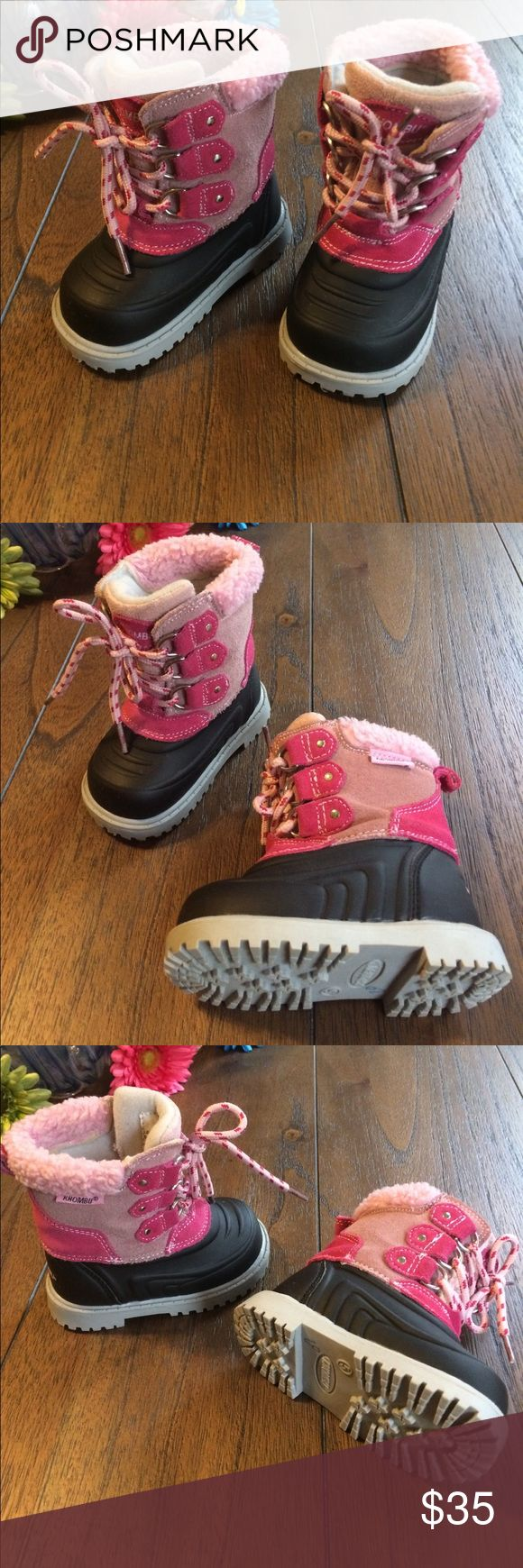 Khombu Boots Are these not the MOST adorable little mini me boots...EVER!?! Sturdy Waterproof black upper keeps feet dry. Suede upper in two tones of pink with laces. Fuzzy pink at tops and insoles are also cushy pink. Great traction bottoms. Khombu Shoes Rain & Snow Boots
