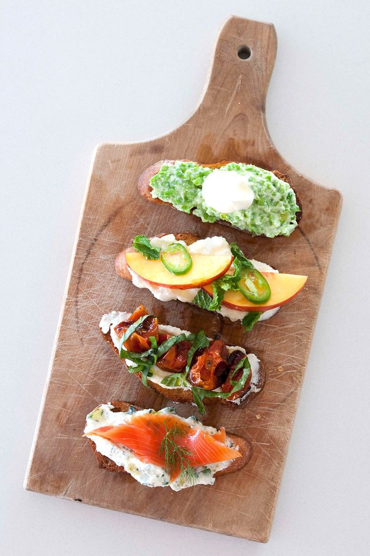 YUM! 4 Easy Crostini Recipes For Your Next Fete #refinery29  http://www.refinery29.com/summer-crostini-recipe#slide27  And, here they are — the final four! Serve on a wooden cutting board for a chic, rustic vibe.