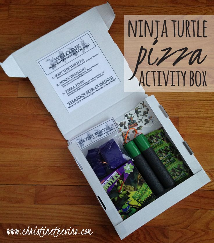Cut down your party costs by using this awesome Pizza Activity Box for your Ninja Turtle party favors AND party games.