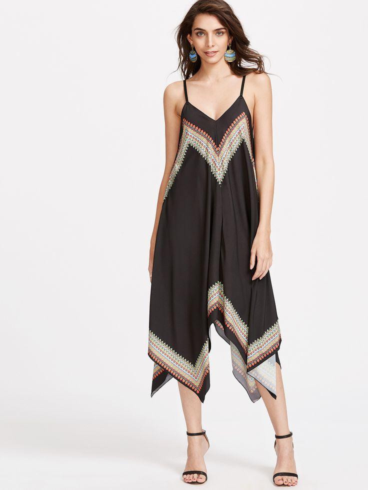 Black Vintage Print Asymmetric Chiffon Slip Dress