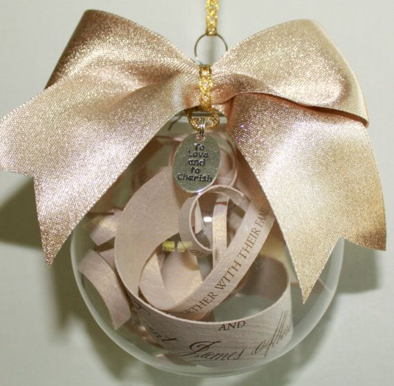 Personalized Wedding Invitation Ornament with Bow and Charm on Etsy, $24.00