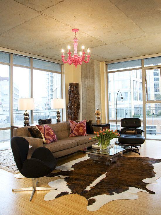 Superb Cow Hide Rug In Open Living Design, Pictures, Remodel, Decor And Ideas