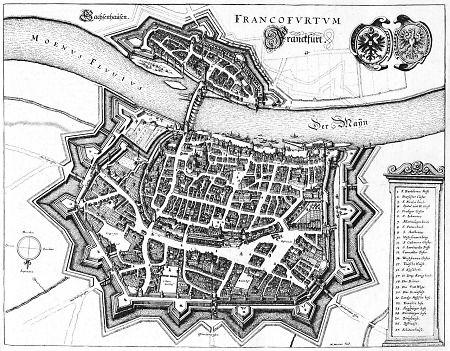 Befestigte Stadt Frankfurt mit Sachsenhausen aus der Vogelperspektive, 1646
