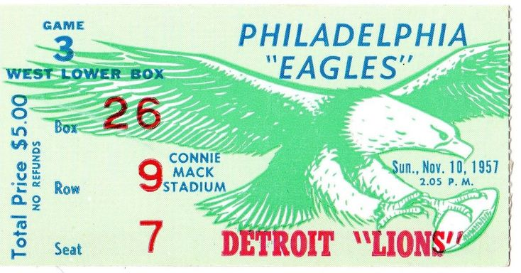 Ticket stub for the Philadelphia Eagles vs. Detroit Lions, 1957 at Connie Mack Stadium