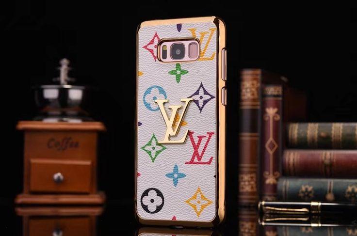 ケース Galaxys8 S8Plus lvルイヴィトンgucciグッチ ブランドロゴ付きモノグラム金属メタル質感メッキ加工ギャラクシーS8携帯カバー男女ダミエ調