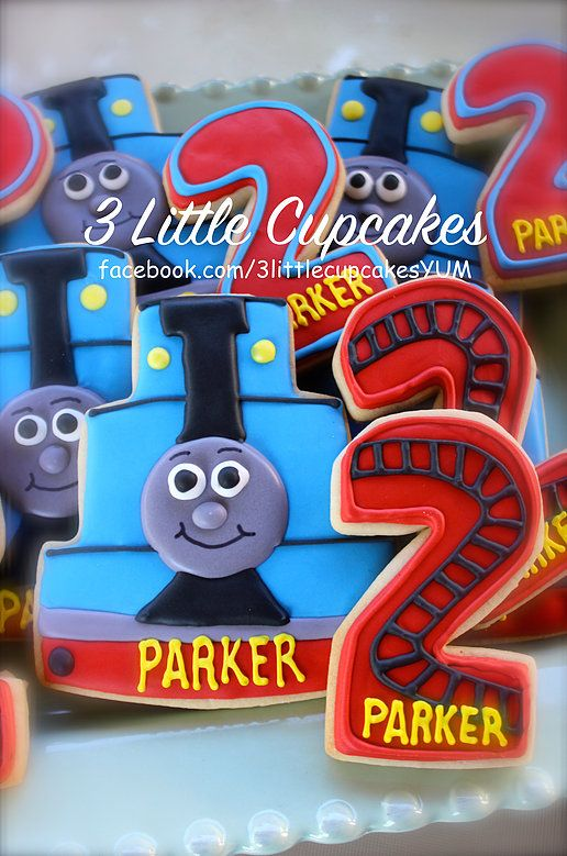 3 Little Cupcakes | Fun orders! Thomas the train cookies Thomas the train theme cookies Thomas the train decorated cookies Trains Train tracks