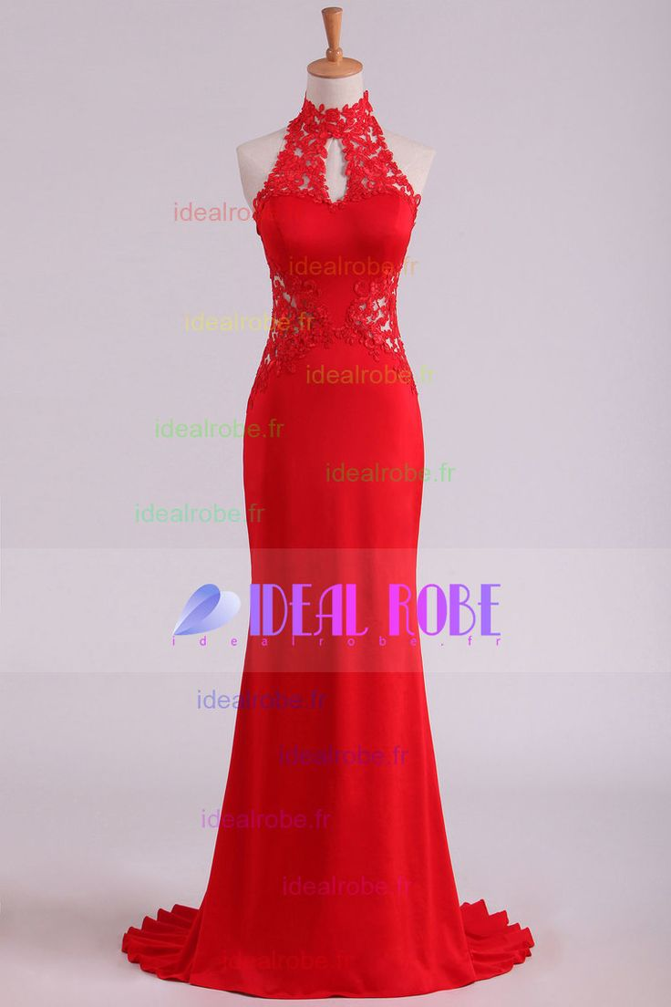 2016 Rouge haut col ouvert Retour Robes de bal Avec Sweep Applique train Spandex