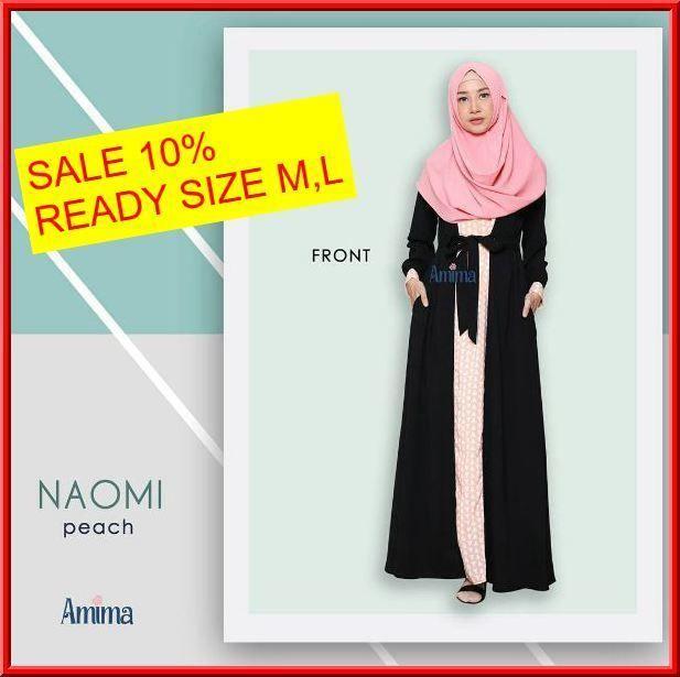 Gamis Amima Naomi Dress Peach - baju muslim wanita baju muslimah Untukmu yg cantik syari dan trendy . . Size:  S ---> 94 | 137 M ---> 100 |140 L ---> 106 | 140 . . Material bahan : -CREPE POLOS  WOLVIS PATTERN nyaman digunakan seharian material ringan dan flowy cocok untuk travelling karena cuci-cepat kering dan ga perlu setrika -Model rok dengan aksen motif di bag tengah depan -Model kerah bulat dengan Bukaan zipper depan -Kantong pada kanan dan kiri untuk menyimpan dompet / HP -Tali…