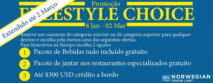 Promoção Freestyle Choice da Norwegian Cruise Line - extendido até 2 Março 2015