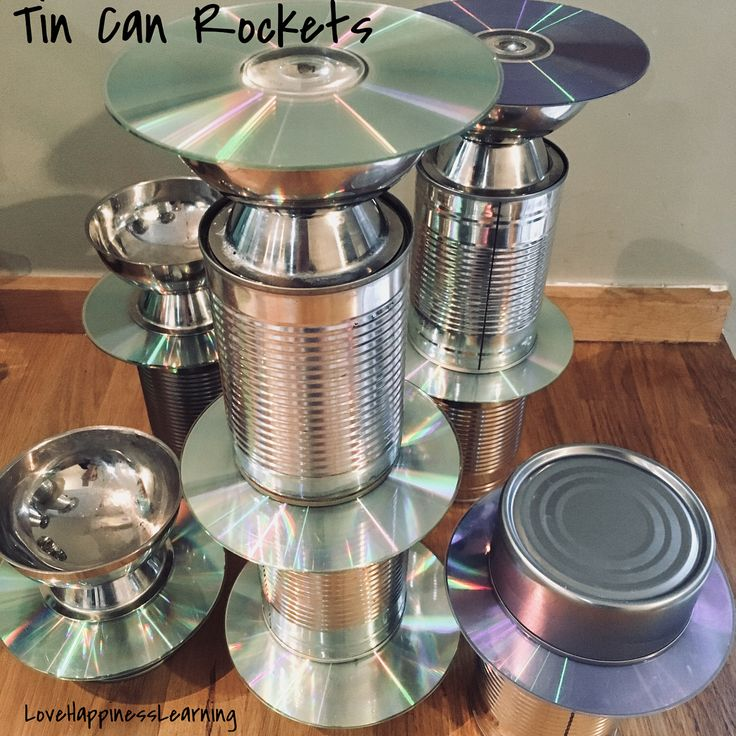 """""""The children had great fun building rockets at Toddlers using tin cans, metal dishes & old cd's.…"""""""