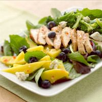 MANGO CHICKEN SALAD Jazz up your chicken salad by tossing in juicy mango, fresh blueberries, crumbled blue cheese, and crunchy broccoli. http://www.bhg.com/recipe/chicken/mango-chicken-salad/