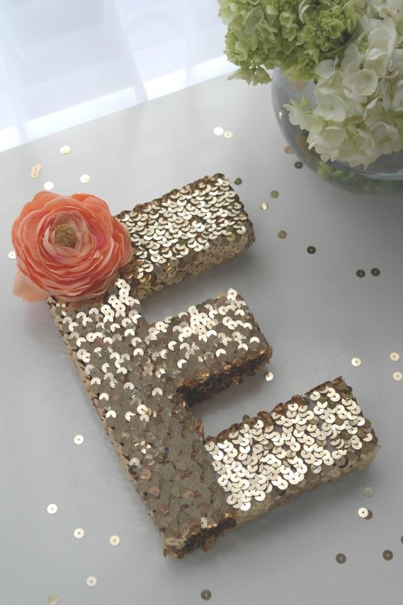 DIY sequin monogram. Such a fun idea. Would be great for seasonal words-BOO, JOY, etc.