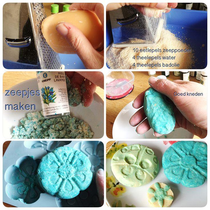 DIY Vrolijke zeepjes maken van oude saaie (en goedkope) stukken zeep. Dove zeep kn voordeelpak is wit en ruikt al  heerlijk, beetje voedingskleur en je hebt iets nieuws)... Ook leuk voor moederdag.  AK