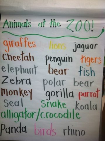 Zoo animal poster. Brainstorm animals we know from the zoo