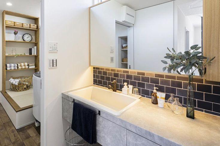 グランハウス一級建築士事務所 S Instagram Profile Post 濃い色のタイルが印象的な洗面 選ぶタイルの色によって雰囲気がガラリと変わりますね グランハウス グランハウス岐阜 設計事務所 タオル掛け かっこいい洗面 洗面インテリア 洗面収納 モル 実験用