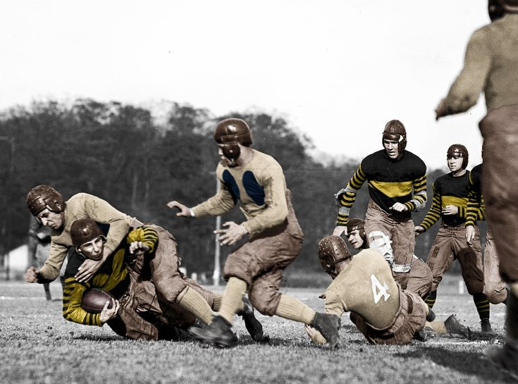 colorized version of football game 1923 Shorpy