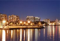 The waterfront in Barrie, Ontario at night (from Barrie Tourism)