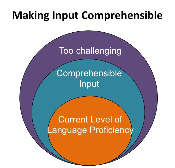the concept behind krashens theory of comprehensible input states We examined the concepts of culture shock, comprehensible input and output, language acquisition and learning, age differences, the affective filter, and the silent period implications for.