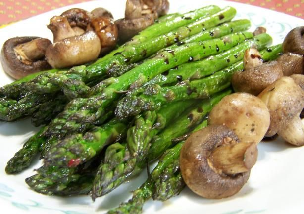 Roasted Asparagus with Mushrooms!! Super easy and delicious!!! instead of regular pepper I used rosemary pepper