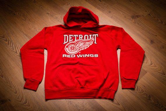 Vintage Detroit Red Wings Logo Hoodie Sweatshirt, Michigan Fan Apparel