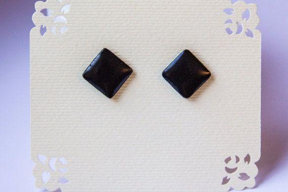 Black studs glossy black earrings earrings for men от JewelryBest