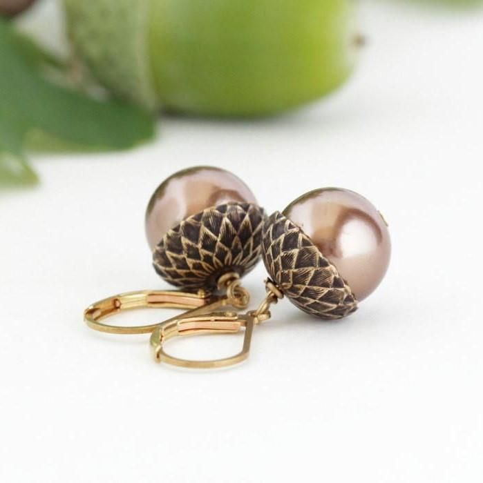 Antique Gold Brass Acorn Earrings With Bronze Pearls
