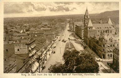 King Street East from the top of the Bank of Hamilton The International Stationery Co., Picton, Canada
