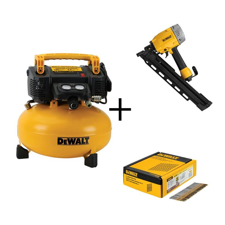 6 Gal. Portable Electric Air Compressor with 21° Framing Nailer and Nails