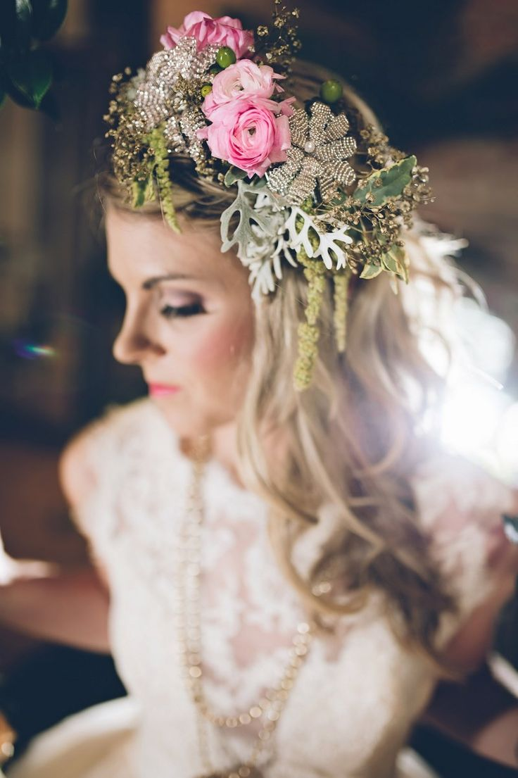 199 best bridal hair images on pinterest marriage hairstyles and enchanted fairytale bridal inspiration the lovely find pink floral crown izmirmasajfo Gallery