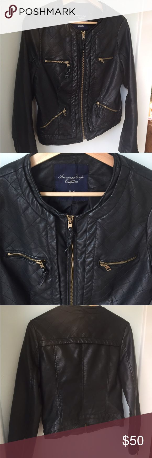 American Eagle Black Leather Jacket American Eagle Outfitters AEO Black Quilted Vegan Leather Jacket Size Medium  Black Collarless Vegan Leather Jacket Quilted Sholders Front & Back Yoke Zip Front 4 Zippered Pockets Zippered Sleeves Fully Lined American Eagle Outfitters Jackets & Coats