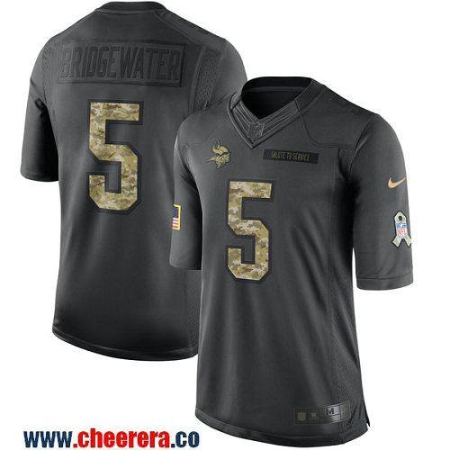 f2bea865e ... Mens Minnesota Vikings Teddy Bridgewater Black Anthracite 2016 Salute  To Service Stitched NFL Nike Limited Jersey .