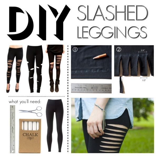 """""""DIY Slashed Leggings"""" by polyvore-editorial on Polyvore"""