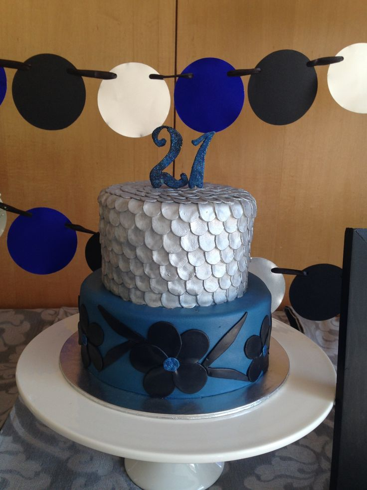 21 First Birthday Cake - Black Silver and Blue