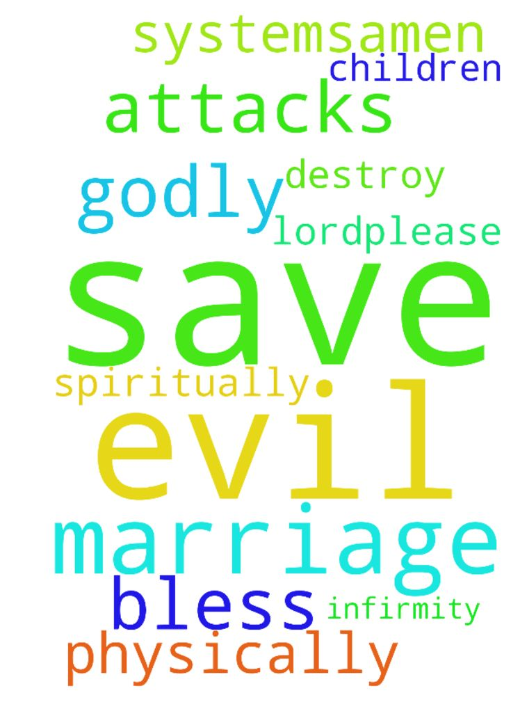 Dear Lord,please save me from every evil - Dear Lord,please save me from every evil attacks both physically and spiritually, save my marriage and bless my marriage with Godly Children and destroy every infirmity in my systems...Amen Posted at: https://prayerrequest.com/t/Brr #pray #prayer #request #prayerrequest
