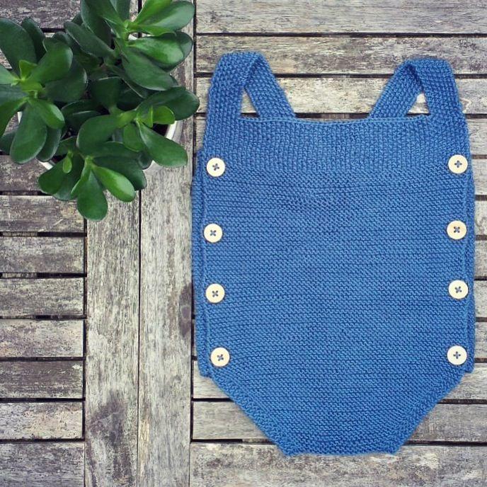 baby romper dark blue - by #minaminina hand knitted