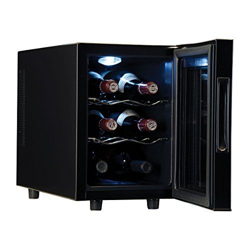 Haier Wine Cooler 6 Bottle Features Thermoelectric Cooling Technology, Chrome Wire Shelves and Insulated Glass Door, Ideal for Home Bar or Dining