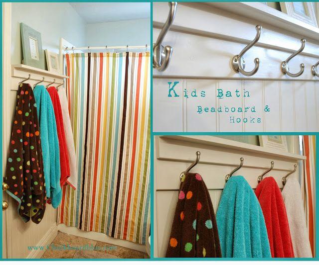 How to add Beadboard, shelf and hooks to change the look and use of a Kids Bathroom! #Kidsbathroom #towelhooks. www.Chalkboardblue.com
