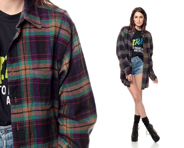 90s Flannel Shirt Long PLAID Oversized Grunge Long Sleeve Black Purple Checkered 1990s Cotton ...