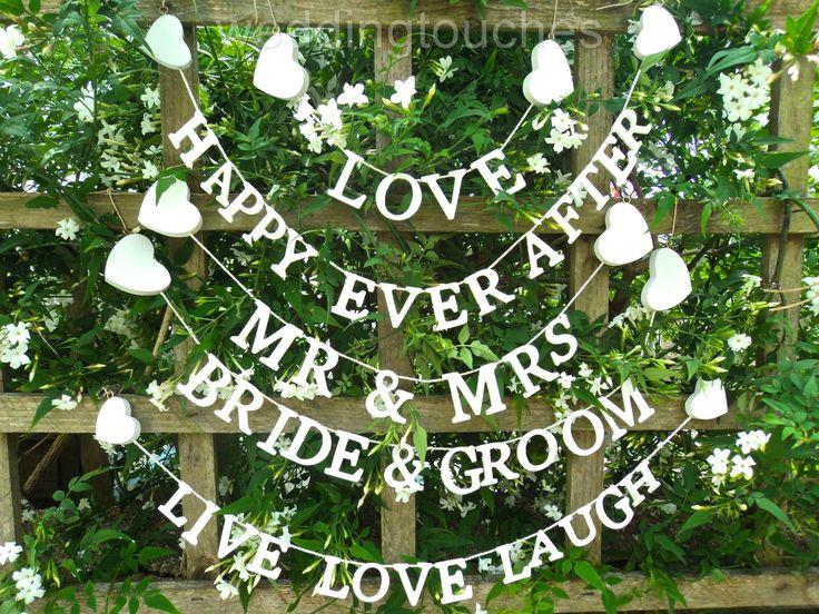 Mr & Mrs Garland Happy Ever After Bride & Groom Garland Wedding Heart Bunting