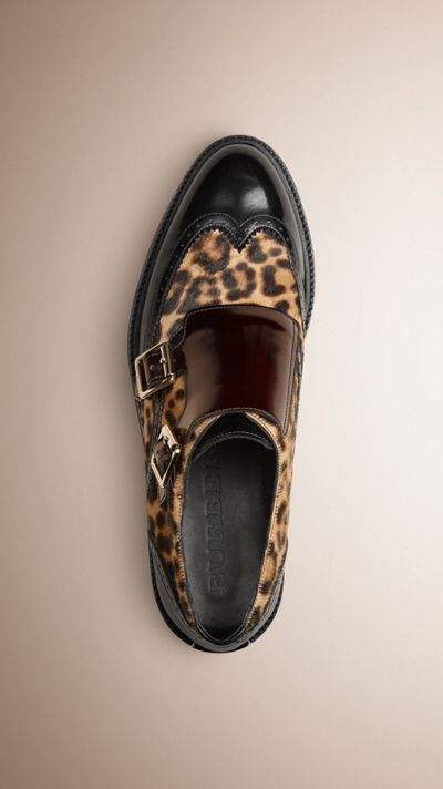 Leather and animal Print Calfskin Wingtip Shoes