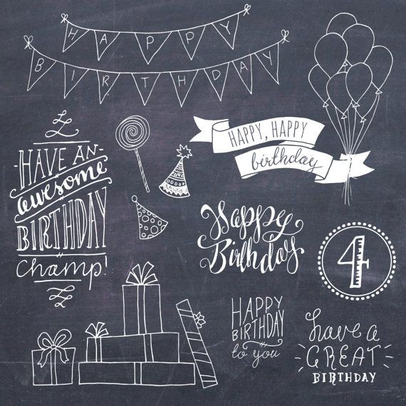 CLIPART-GRAFIK: Geburtstag Photoshop Overlays / von thePENandBRUSH