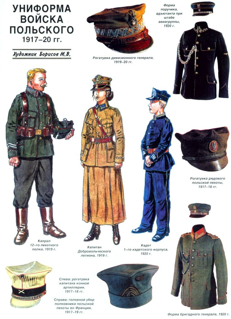 UNIFORMS OF THE POLISH ARMY in 1917-1920  < 654° pl https://de.pinterest.com/kubusi/wojsko-polskie/