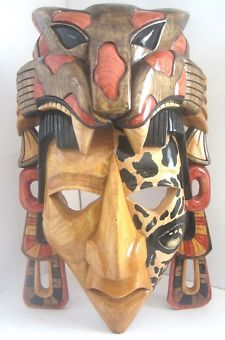 Mayan Jaguar Mask   JAGUAR WARRIOR CEDAR AZTEC ART MAYAN MASK Grumpy Origninal FEDEX WOW!
