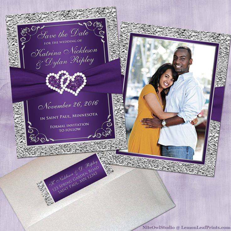 purple silver wedding invitation set joined hearts jewel - Purple And Silver Wedding Invitations