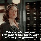 Tell me, who are you bringing to the show, your wife or your girlfriend?    Peggy Carter    AC 1x03 Time and Tide    160px × 160px    #animated #quotes