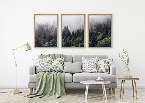 Set of 3 Forest Print Green Forest Printable Set of 3