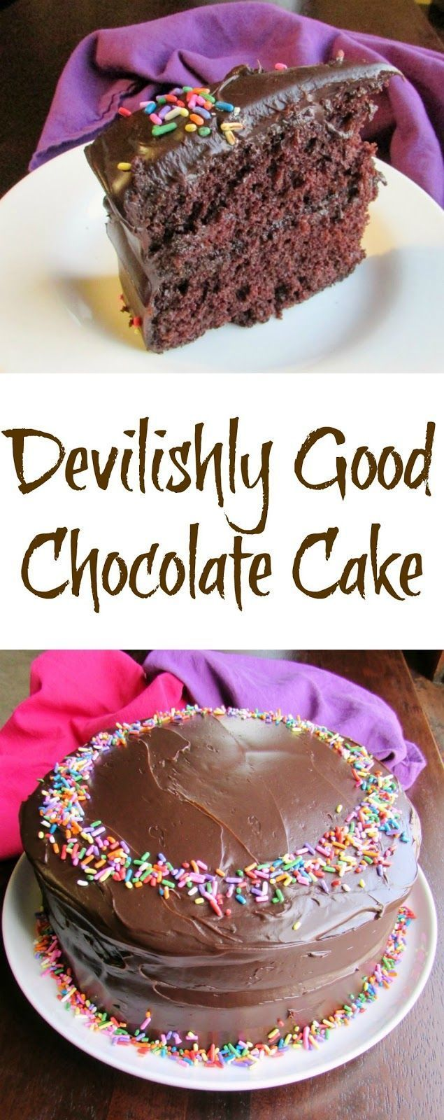 This Devilishly Good Chocolate cake is our FAVORITE chocolate cake to make.  It is from scratch, but ready in less than an hour with no mixer needed! So easy and so good!