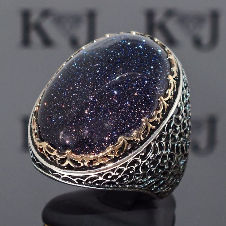 925 Sterling Silver Mens Ring with Blue Aventurine Unique artisan jewelry #KaraJewels #Turkish