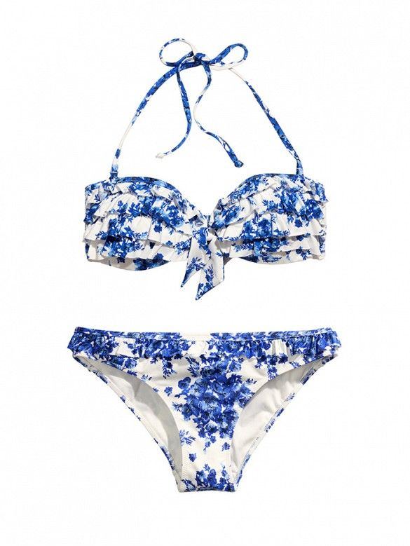 H&M Bikini Top and Bottoms in a blue floral print // // bikini for large chest