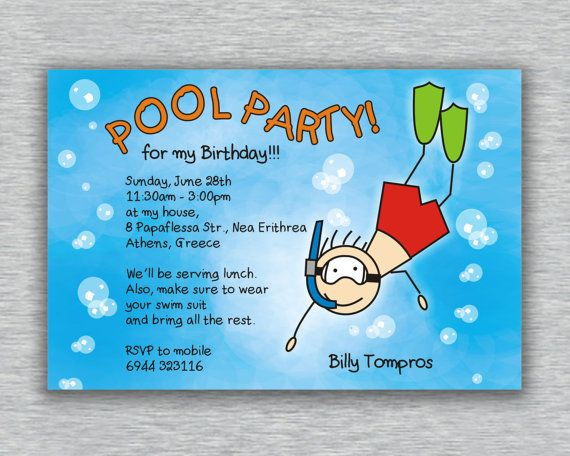 Boy Birthday Pool Party Invitation  DIY Printable by UINVITE, €10.00 Pool party with pool games